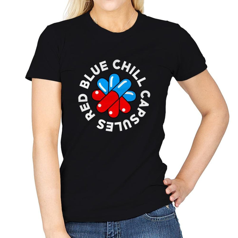 Red Blue Chill Capsules - Womens - T-Shirts - RIPT Apparel