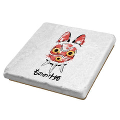 Wolf Girl Mask - Sumi Ink Wars - Coasters - Coasters - RIPT Apparel
