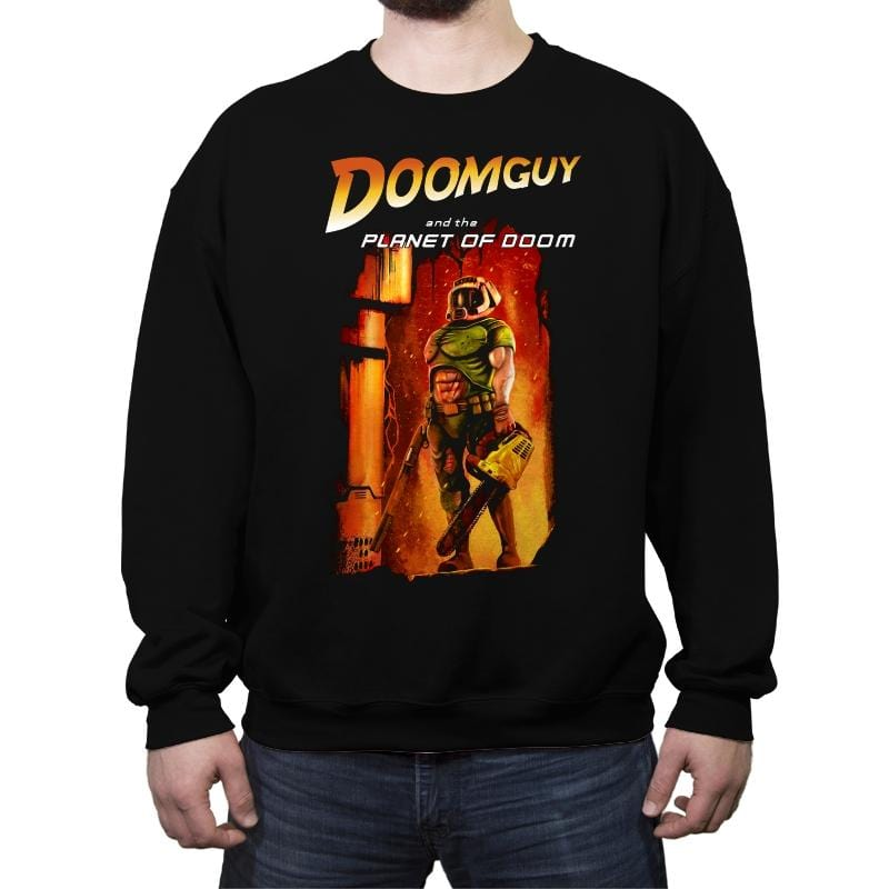 Doomguy and the Planet of Doom - Crew Neck Sweatshirt - Crew Neck Sweatshirt - RIPT Apparel