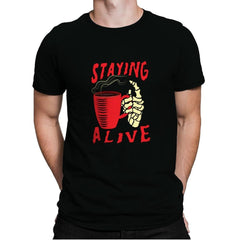 Staying Alive With Coffee - Mens Premium - T-Shirts - RIPT Apparel