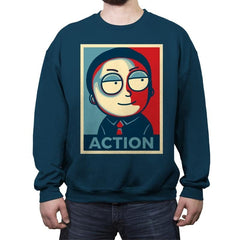 Now Is The Time For Action! - Crew Neck Sweatshirt - Crew Neck Sweatshirt - RIPT Apparel