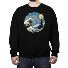 The Great Starry Wave - Crew Neck Sweatshirt - Crew Neck Sweatshirt - RIPT Apparel