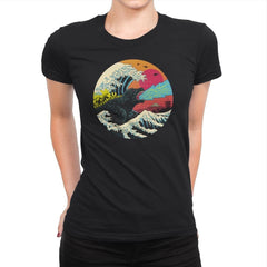 Retro Wave Kaiju - Womens Premium - T-Shirts - RIPT Apparel
