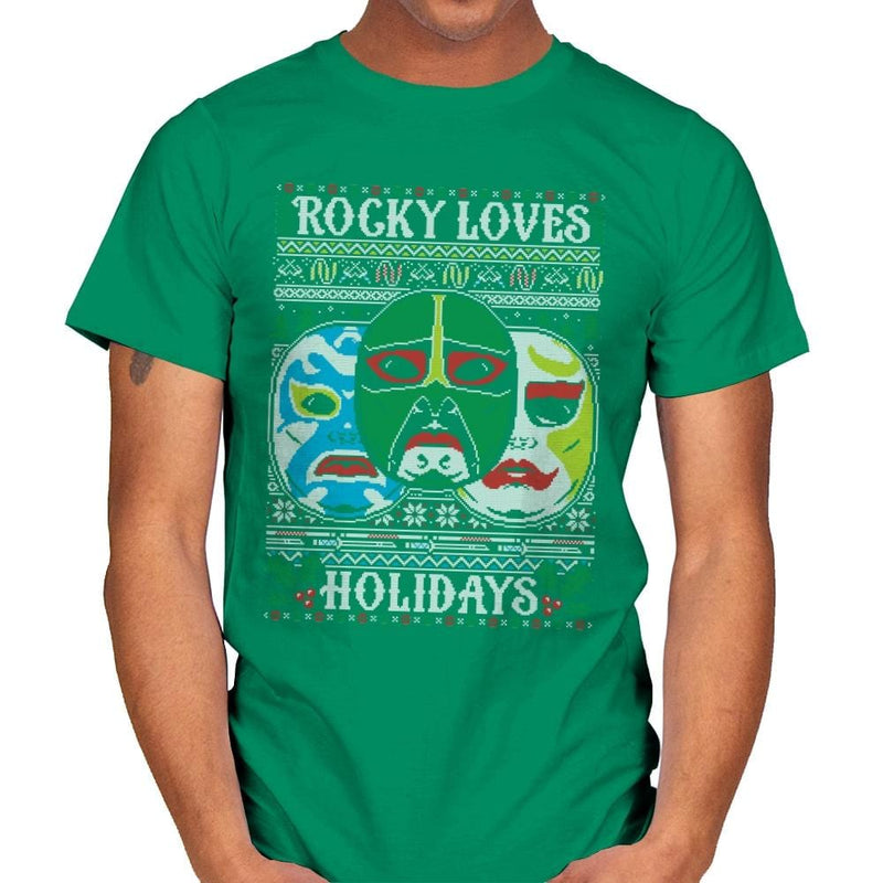 Rocky Loves Holidays - Ugly Holiday - Mens - T-Shirts - RIPT Apparel