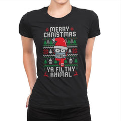 Merry Christmas Ya Filthy Animal - Womens Premium - T-Shirts - RIPT Apparel