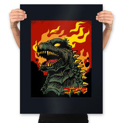 Godzilla on Fire - Prints - Posters - RIPT Apparel
