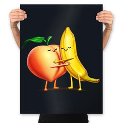 Peach and Banana Cute Friends - Prints - Posters - RIPT Apparel