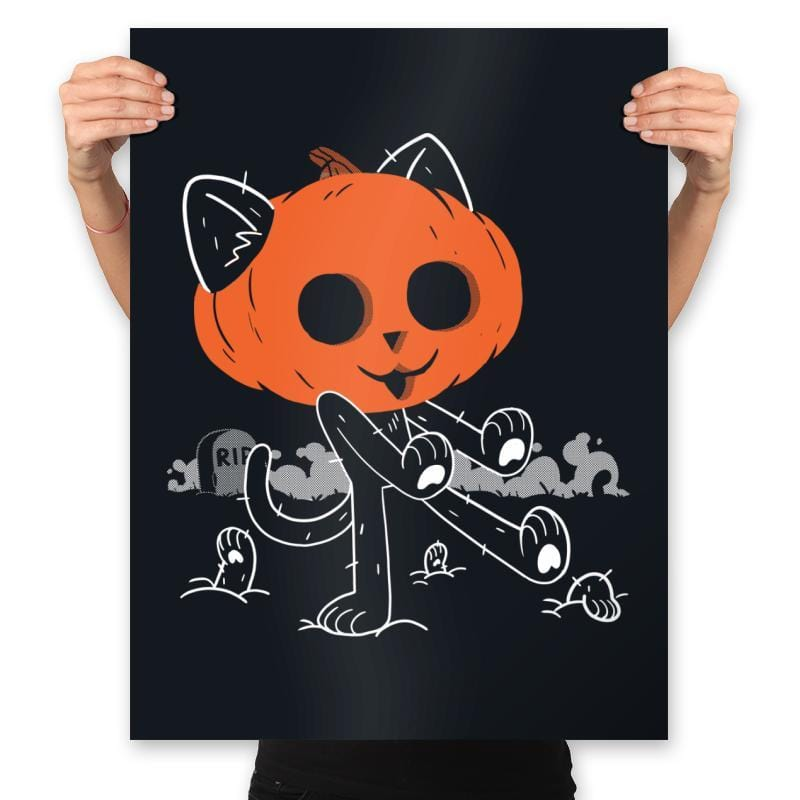 Pumpkitty Zombie - Prints - Posters - RIPT Apparel