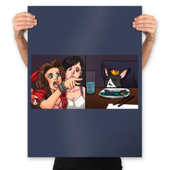 Tifa Yelling At A Cait Sith - Prints - Posters - RIPT Apparel