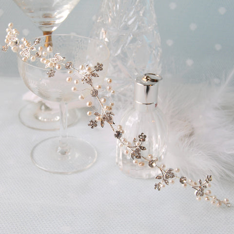 Amazing Vintage Pearl & Crystal Flower Bridal Hair Vine