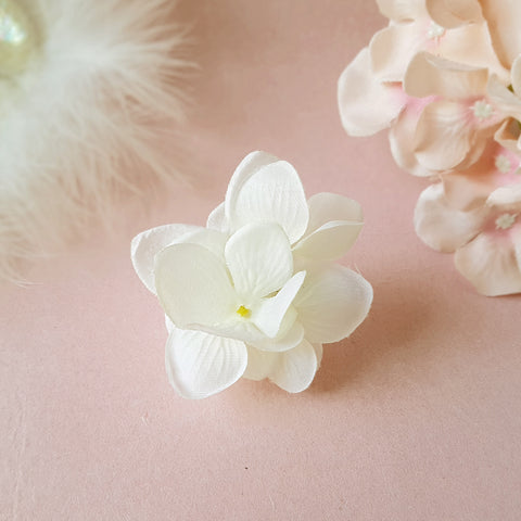 Small White Hydrangea Bridal Bridesmaid Wedding Hair Flower Clip by Susie Warner Jewellery & Accessories