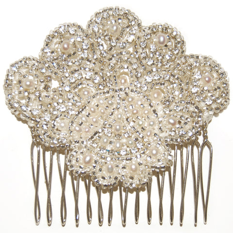 Ava Vintage Crystal & Pearl Diamante Wedding Hair Comb