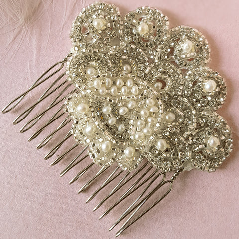 Ava Vintage Crystal & Pearl Fan Bridal Hair Comb