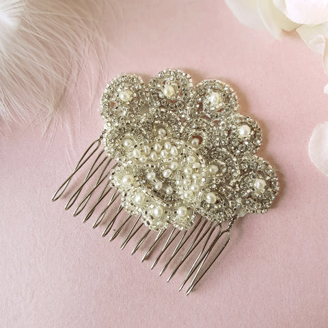 Ava Vintage Pearl & Crystal Fan Wedding Hair Comb