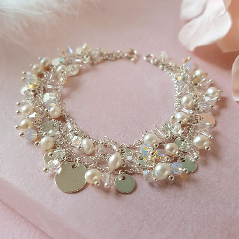 A Kind of Magic Silver Crystal & Pearl 3 Row Bracelet