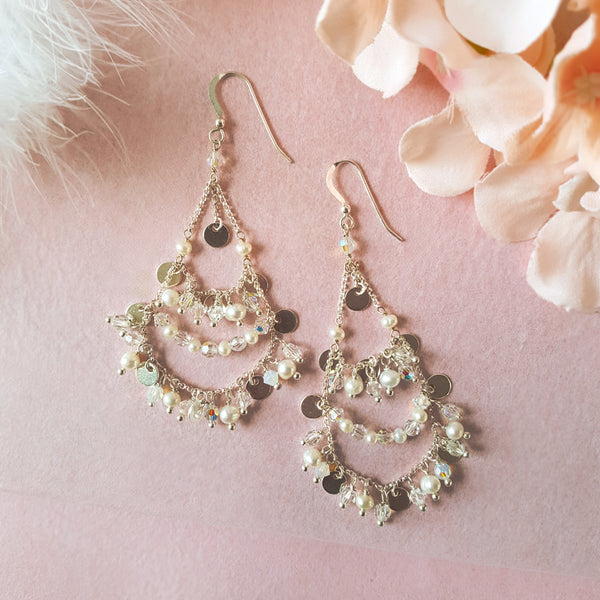 Silver & Pearl Bridal Chandelier Earrings | A Kind of Magic by Susie Warner Wedding Jewellery
