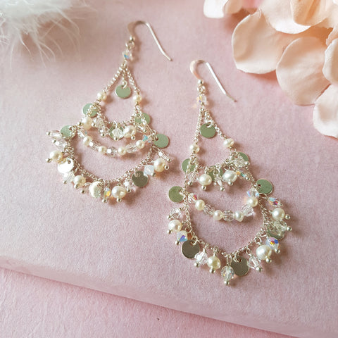 A Kind of Magic Silver Crystal & Pearl Chandelier Earrings