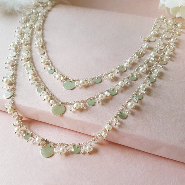Silver 3 Row Wedding Necklace | A Kind of Magic by Susie Warner Bridal Jewellery