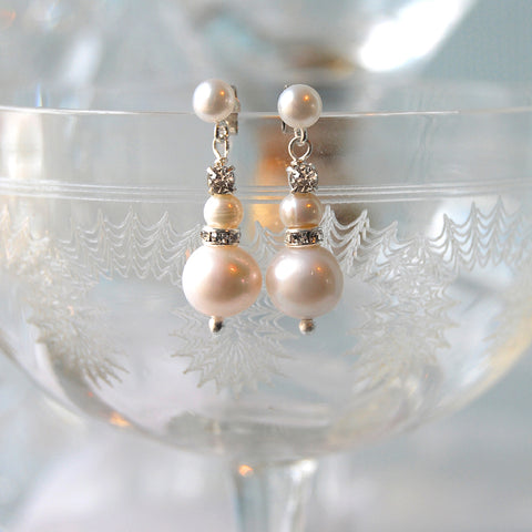 Baby Love Pearl & Diamante Bridal Pearl Stud Drop Earrings