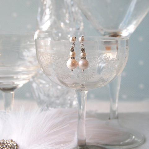 Baby Love Crystal &  Pearl Stud Wedding Earrings