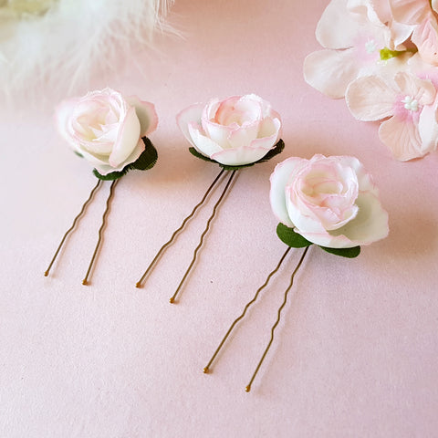 SMALL BLUSH ROSE BRIDESMAID HAIR PINS | SUSIE WARNER WEDDING HAIR PINS