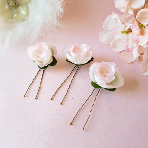 SMALL BLUSH ROSE FLOWER GIRL HAIR PINS | SUSIE WARNER WEDDING HAIR PINS