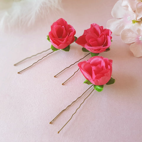 SMALL FUCSHIA ROSE BRIDESMAID HAIR PINS | SUSIE WARNER WEDDING HAIR PINS