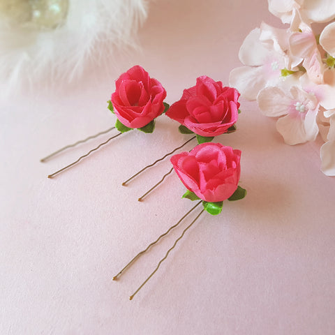 SMALL FUCSHIA ROSE FLOWER GIRL HAIR PINS | SUSIE WARNER WEDDING HAIR PINS