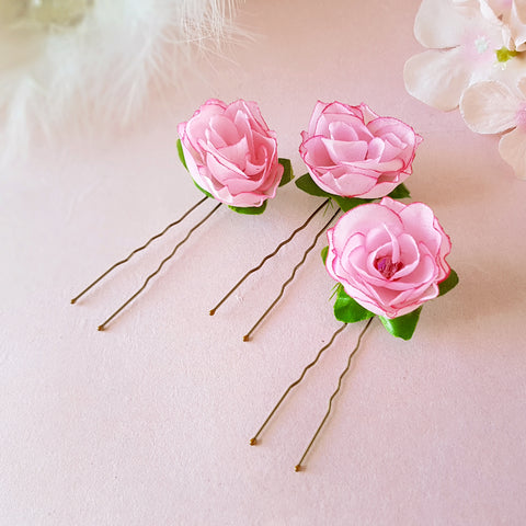 SMALL PINK ROSE BRIDESMAID HAIR PINS | SUSIE WARNER WEDDING HAIR PINS