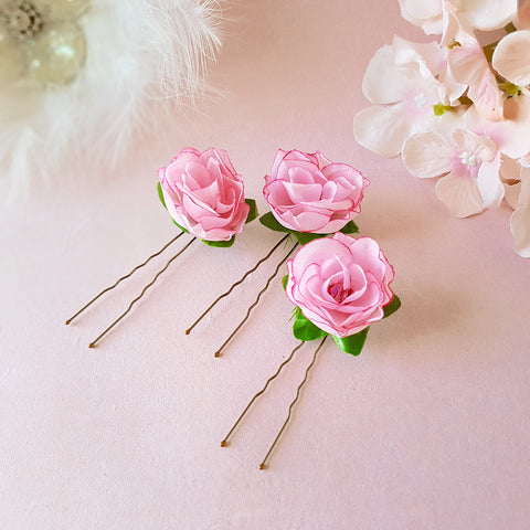 SMALL PINK ROSE FLOWER GIRL HAIR PINS | SUSIE WARNER WEDDING HAIR PINS