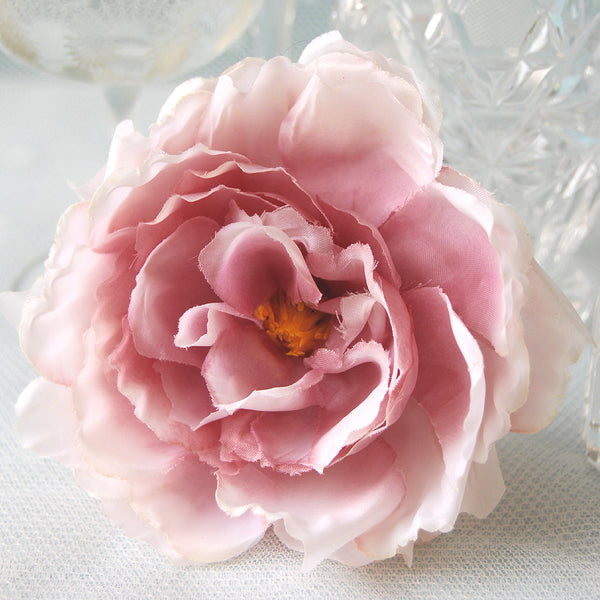 Blushing Beauty Vintage Faux Silk Rose Hair Flower Clip