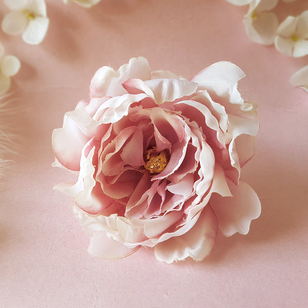 Blushing Beauty Vintage Blush Rose Wedding Hair Flower
