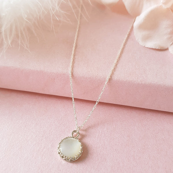 Candy Sterling Silver Mother of Pearl Necklace - Perfect Bridesmaids Gift