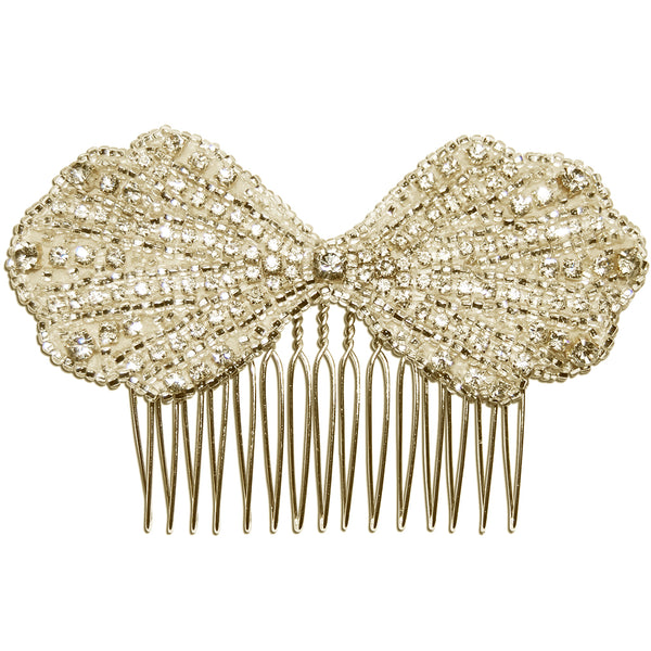 Clara Vintage Art Deco Diamante Bow Bridal Hair Comb