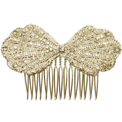 Clara Vintage Art Deco Diamante Bow Wedding Hair Comb