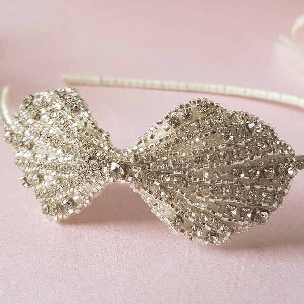 Clara Art Deco Bow Luxury Wedding Headdress