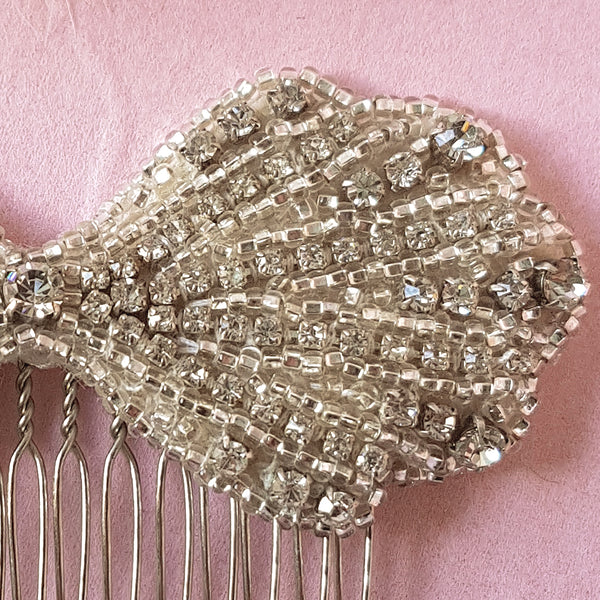 Clara Art Deco Crystal Bow Wedding Hair Comb