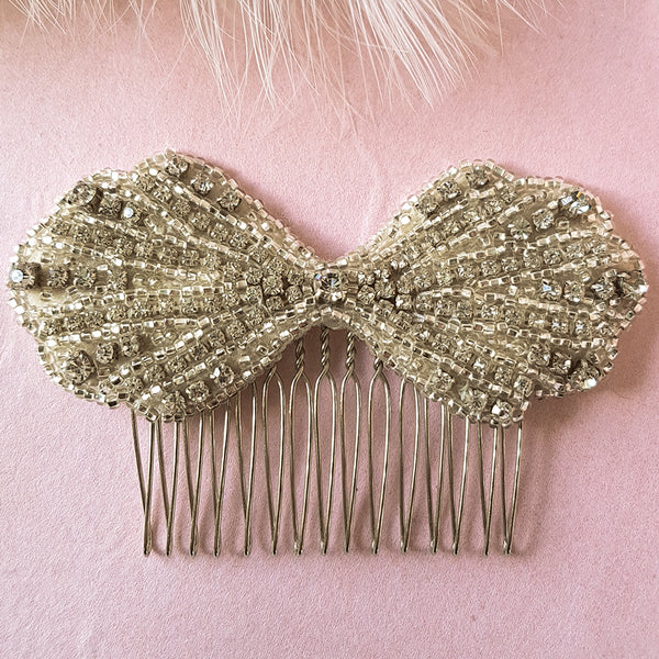 Clara Art Deco Bow Bridal Hair Comb