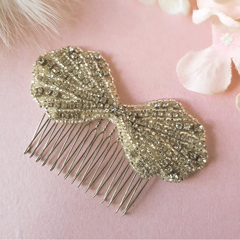 Clara Vintage Art Deco Crystal Bow Wedding Hair Comb
