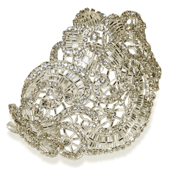 Claudette Statement Vintage Crystal Art Deco Wedding Headdress