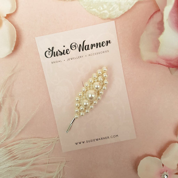 VINTAGE OVAL PEARL HAIR CLIP | SUSIE WARNER BRIDAL  ACCESSORIES