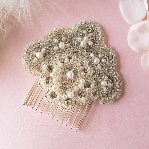 Cleo Vintage Art Deco Pearl & Crystal Fan Wedding Hair Comb