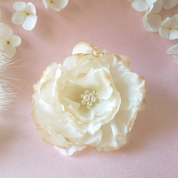 Confection Faux Silk Cream Rose Bridal Hair Flower