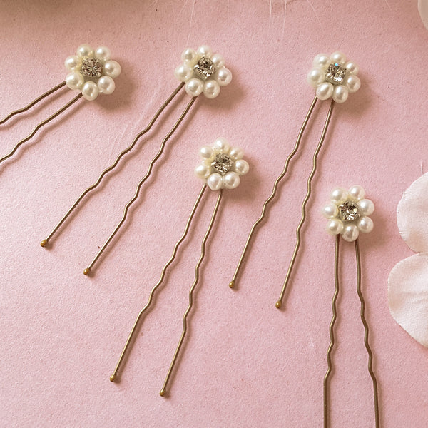 Daisy Vintage Pearl Wedding Hair Pins Set of 5