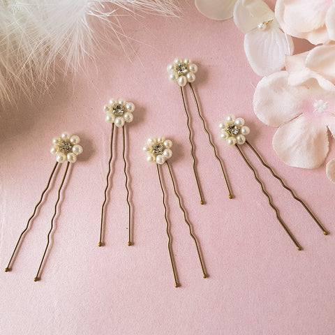 Daisy Vintage Pearl Bridal Hair Pins For Weddings