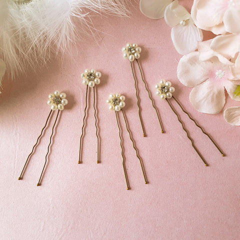 Daisy Vintage Pearl & Diamante Flower Wedding Hair Pins