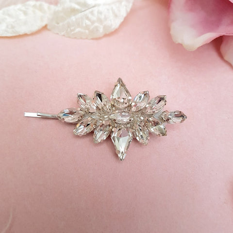 Deborah Vintage Teardrop Diamante Crystal Hair Clip