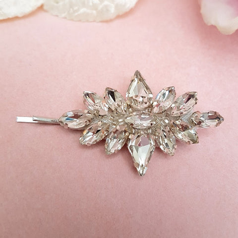 VINTAGE TEARDROP DIAMANTE CRYSTAL HAIR SLIDE | SUSIE WARNER HAIR ACCESSORIES