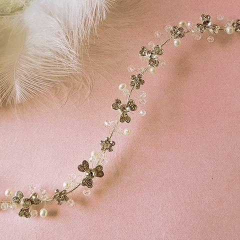 Vintage Diamante Flower & Freshwater Pearl Bridal Hair Vine