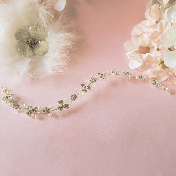 Diamante Flower & Freshwater Pearl Bridal Hair Vine